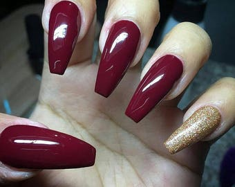 Maroon Nails Gold Glitter Accent Fake Nail Set CUSTOMIZABLE SHAPE LENGTH