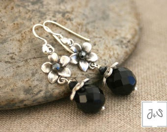 Pierced earrings black, hooks in sterling silver, Crystal Rhinestones, glass beads / Wiosna