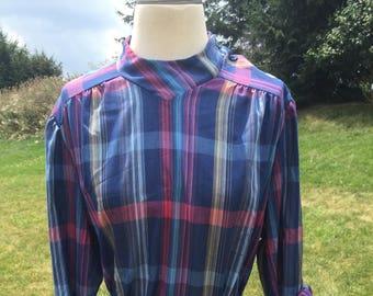 Blue plaid shoulder button blouse