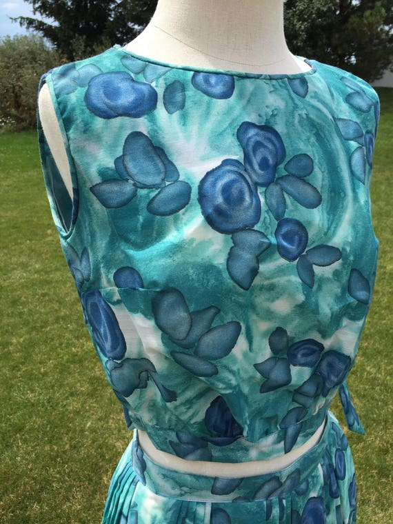 1960's deadstock blue floral two piece set
