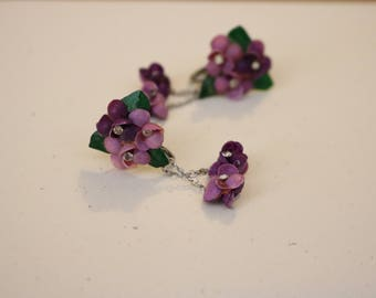 Purple floral dangle earrings