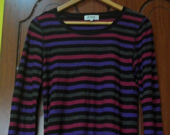 Vintage Sonia Rykiel Longsleeve striped tops//French fashion designer//size 40//Made in Japan