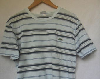 Vintage Lacoste Striped T shirt//French Brand//Made in Japan//Size 4