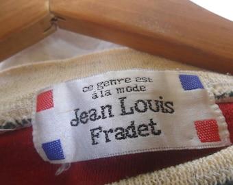 Vintage Jean Louis Fradet Sweatshirt//Big Embroidered Logo