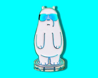 We Bare Bears Ice Bear Roomba Soft Enamel Pin