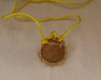 Golden Rutilated Quartz Pendant Necklace