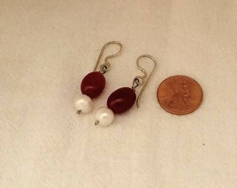 Ruby Pearl Bead Earring