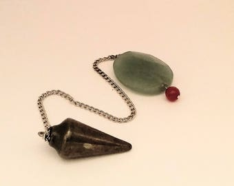 Special Sale Hematite crystal Dowser with Aventurine and Ruby bead