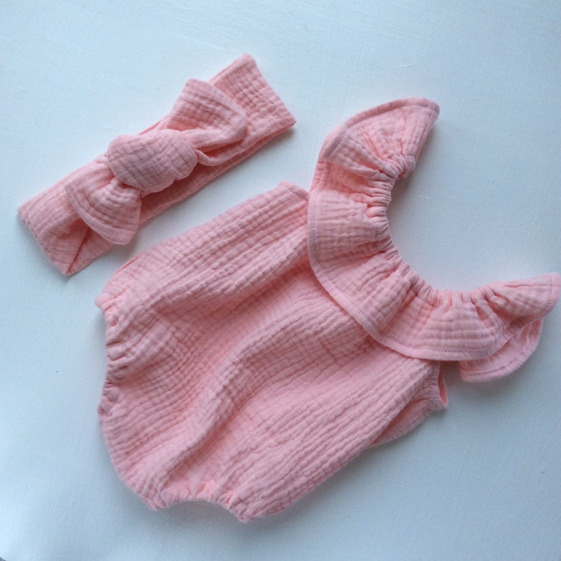 Baby Jumpsuit with Headband 10 COLORS Baby Romper Organic Baby Clothes Newborn Girl Romper