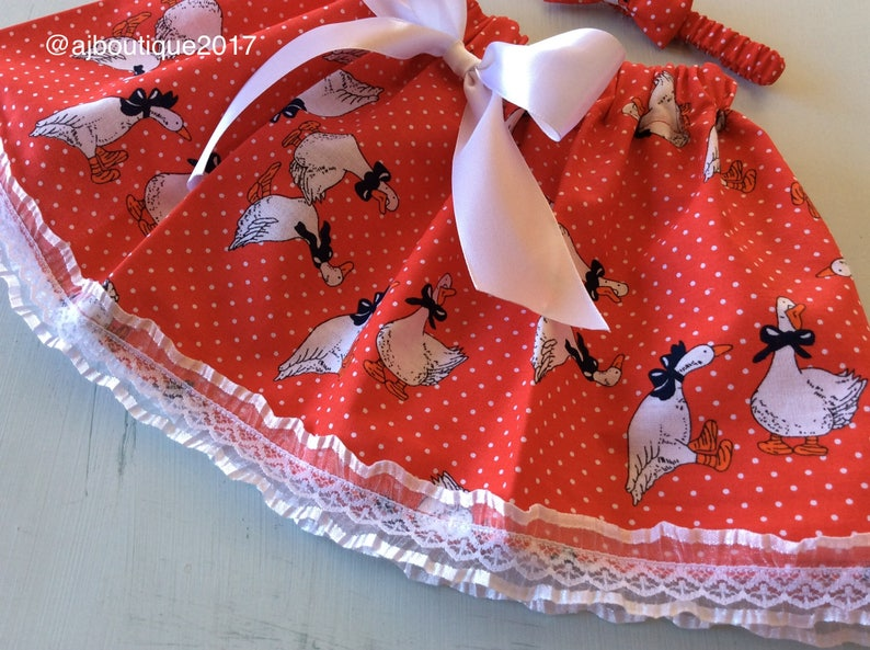 skirt and headband girls skirts toddler skirts  laced skirt red skirt duck print clearance sale Baby girl skirt and bow