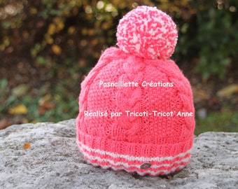 """Hand-knitted """"Torsades"""" cap and wool pompom (girl size 12 months to 30 months)."""