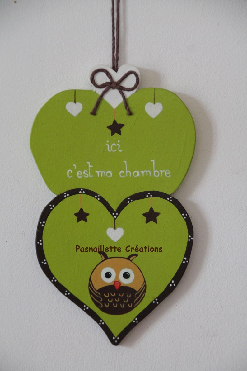 "Chambre Chocolat Et Vert Anis small wooden ""baby"" hearts ""here is my""owl""""(vert anis et chocolat) room  room door decoration hand painted baby/toddler"