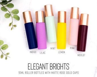 SIX Elegant BRIGHTS 10ml Essential Oil Roller Bottles | Set of 6