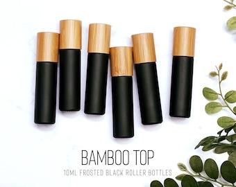 SIX Bamboo BLACK 10ml Essential Oil Roller Bottles | Set of 6