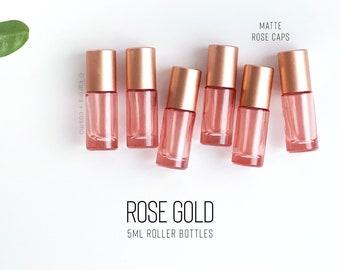 SIX Rose Gold 5ml Essential Oil Roller Bottles | Set of 6