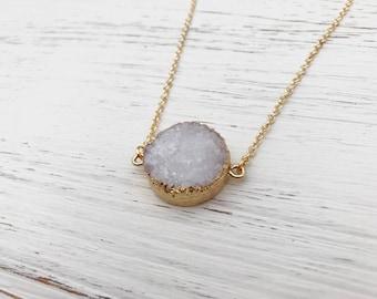 Round Druzy Crystal Pendant Necklace