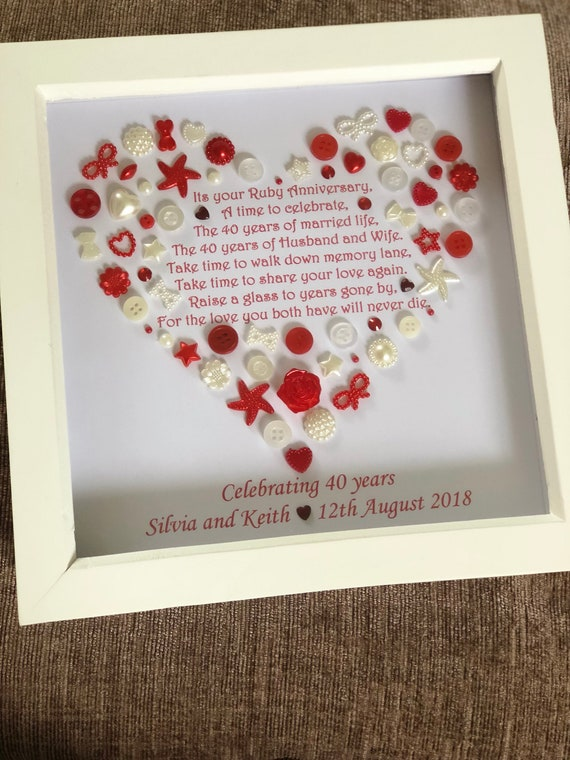 Hecho a mano Rubí Aniversario de Bodas Tarjeta Feliz 40th aniversario de bodas Grande 40