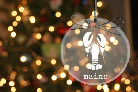 image 0 - Maine Christmas Ornament CUSTOM Etched Glass Ornaments Etsy