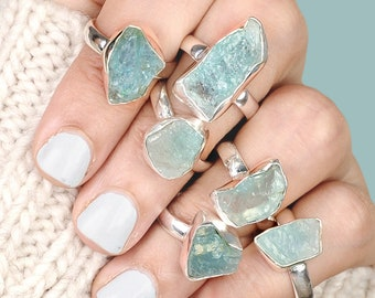 Raw Aquamarine Ring, Sterling Silver Rings for women, Natural Uncut Gemstone Crystal Raw Stone Ring,
