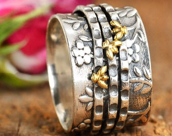 Bee Ring, Spinner Ring, Sterling Silver Ring for Women, Floral Flower Ring, Meditation Spinning Wide Band, Anxiety Worry Fidget Ring