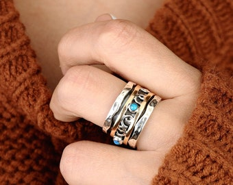 Turquoise Spinner Ring, Sterling Silver Ring for Women, Meditation Fidget Ring, Wide Band Two Tone Ring, Blue Stone, Worry Hammered Ring
