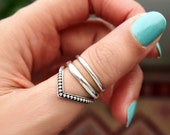Chevron Ring, Boho Ring, Sterling Silver Ring for Women, Statement Thumb Ring, Bohemian Jewelry