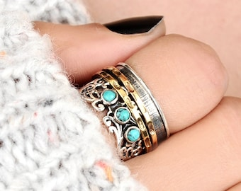 Three Stone Turquoise Spinner Ring, Sterling Silver Ring for Women, Meditation Fidget Wide Band, Filigree Ring, Blue Stone Boho Worry Ring