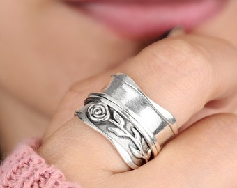 Rose Ring, Spinner Ring, Sterling Silver Ring for Women, Flower Ring, Nature Meditation Wide Band, Anxiety Worry Fidget jewelry