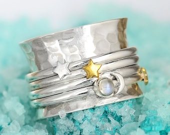 Stars and Moon ring, Moonstone Ring, Spinner Ring, Sterling Silver Ring for Women, Meditation Anxiety Fidget Ring, Boho Celestial Jewelry