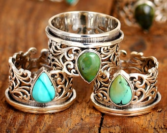 Turquoise Spinner Ring, Sterling Silver Ring for Women, Meditation Fidget Ring, Wide Band Filigree Ring, Blue Stone, Boho Worry Ring