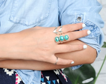 Three Stone Turquoise Ring, Sterling Silver Ring for Women, Long Large Stone Ring, Statement Gemstone Ring, Western Boho Jewelry