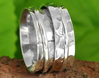 925 Sterling Silver Spinner Ring Wide Band Ring Meditation Ring Worry Ring A481