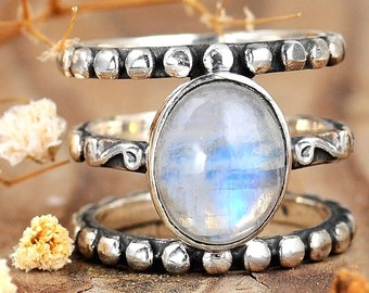e727636f7 Rainbow Moonstone Ring, Boho Sterling Silver Ring for Women, Statement Ring,  Big Stone Gemstone, Bohemian Jewelry