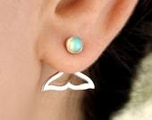 Mermaid Opal Earrings Ear Jacket Sterling Silver Front Back Dolphin Whale Fin