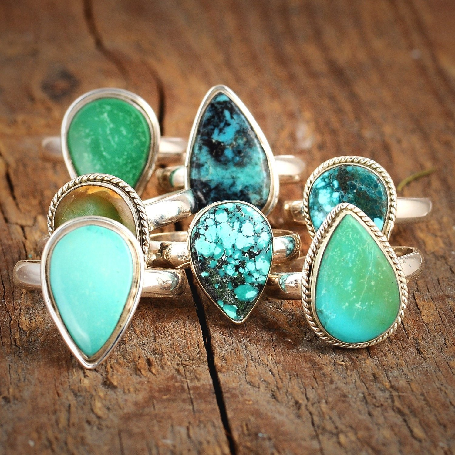 Beautiful Western Natural Stone Turquoise Adjustable Ring Turquoise RingGifts for HerAccessoriesJewelry