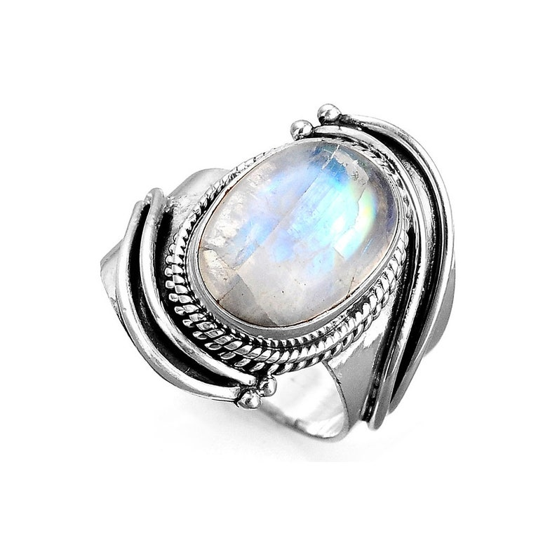 c613c83a0 Boho Moonstone Ring for Women Sterling Silver Ring with | Etsy