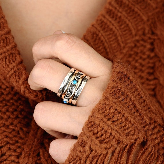 Handmade Ring Statement Ring Boho Ring Fidget Ring Spinner Ring Spinner Band Ab56 Gemstone Ring Meditation Ring Turquoise Ring