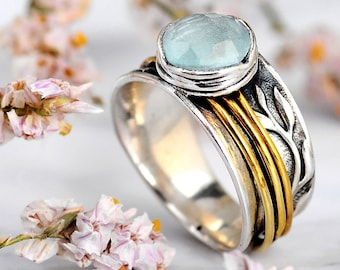 Aquamarine Ring, Leaf Spinner Ring, Sterling Silver Ring for Women, Meditation Fidget Wide Band Nature Ring, Raw Stone Boho Worry Ring
