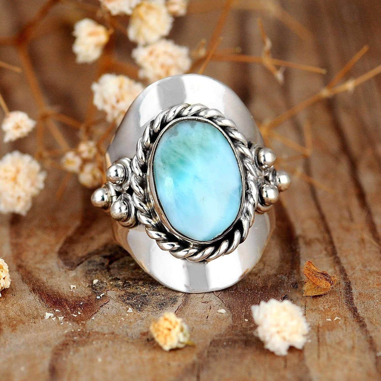 Natural Stone Handmade Jewelry Adjustable Women Ring Sterling Silver Ring,Leaf Wrap Open Ring,Sterling Silver Statement Ring Larimar Ring