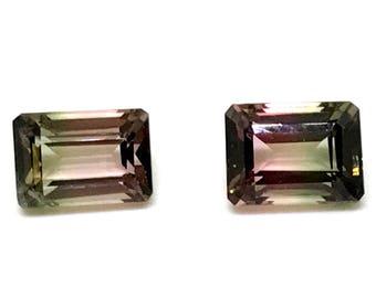 3.31 Ct 2 Ps Watermelon Tourmaline Gemstone Natural Bio Color Tourmaline Octagon Shape Tourmaline Cuts ( Pair ) Loose AAA Tourmaline Faceted