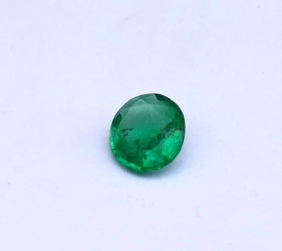 0,80 ct 1 Ps naturelle 100 % Zambie pierre pierre pierre précieuse émeraude Zambie lâche émeraude ovale à facettes Zambie émeraude bijoux bague taille 6.30X7.20X3 MM E 09 07b90b
