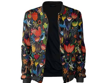Bomber jacket women Jungle vintage clothing painting print colorful prints full print jacket flowers black CACOFONIA for her women's bomber