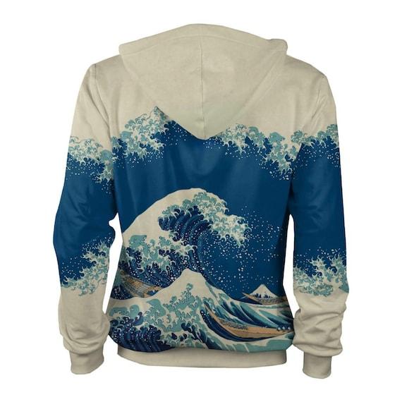 surfing 3d size hokusai CACOFONIA men women japanese hoodie hoody vintage plus Kanagawa men katsushika off women 4xl Great hoodie Wave art wnqaqYfz