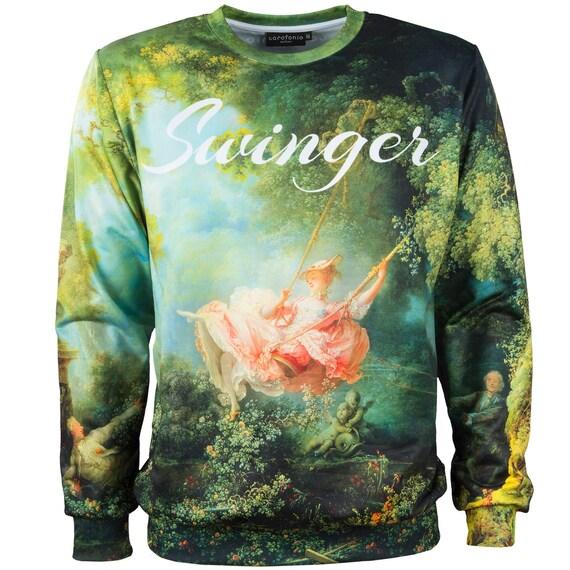 painting designer Swing vintage Fragonard sweatshirt plus clothes men jumper sweatshirt women artistic size unique The clothing women 4xl tRqwnIvxP