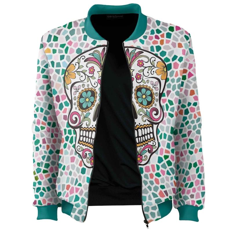 Santa Muerte Bomber Jacket women men halloween costume adult mexican art psychedelic zip psy unisex blouse frida best scull vintage clothing