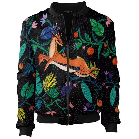 Short design 4xl jacket Festival Rave black Hipster jacket bomber Up vintage Bomber Jacket clothing Zip unique Gazelle flowers women's women wnfqZz8