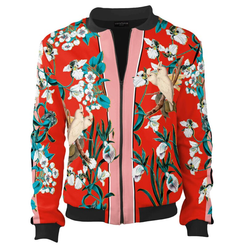 50ffc6b91 Bomber jacket women vintage clothing flowers Red Lovebirds for her italian  fashion plus chanel unique design women's zip front animal jacket