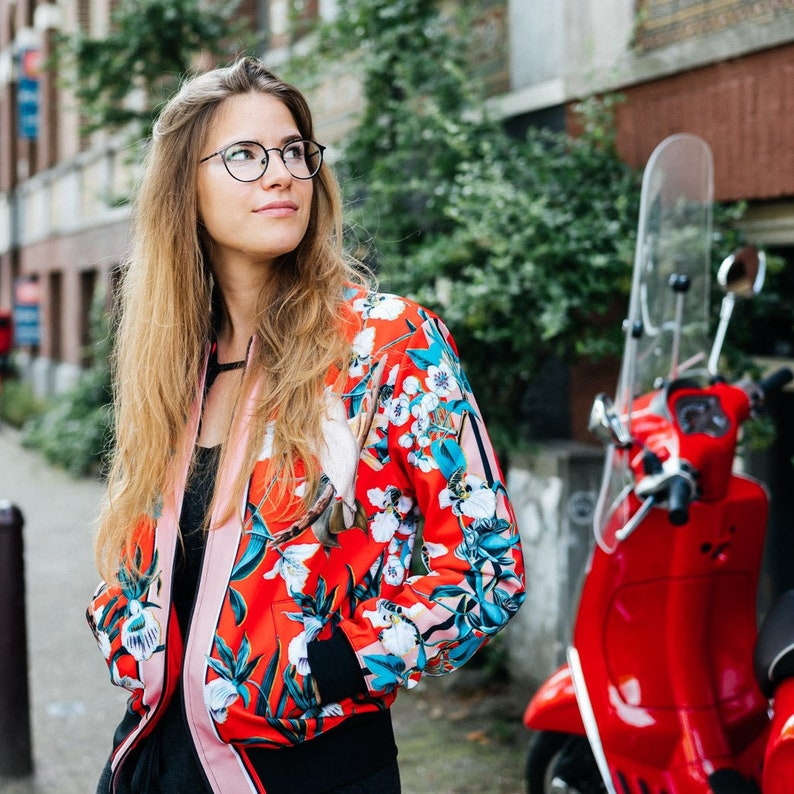 9706747db Bomber jacket festival clothing women vintage clothing flowers Red  Lovebirds for her zip italian fashion plus size unique design zip front