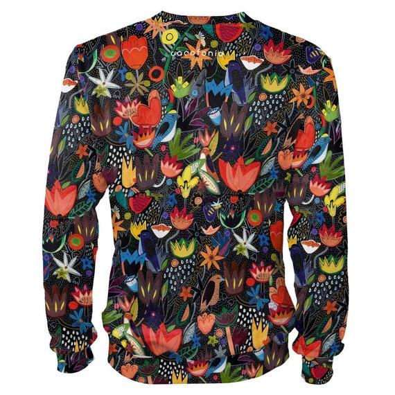 clothing Jungle women men size 4xl flowers jumper black clothing rave plus vintage sweatshirt artistic sweatshirt painted creative art women HvWxgp