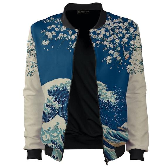 katsushika women off Cardigan Up size art sukajan Bomber surf plus Wave Zip 4xl hokusai Rave japanese Great Kanagawa clothing jacket vintage 5EPPqvA